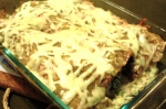 This small batch on Enchiladas uses 3 large sprouted tortillas and has green chiles in the filling