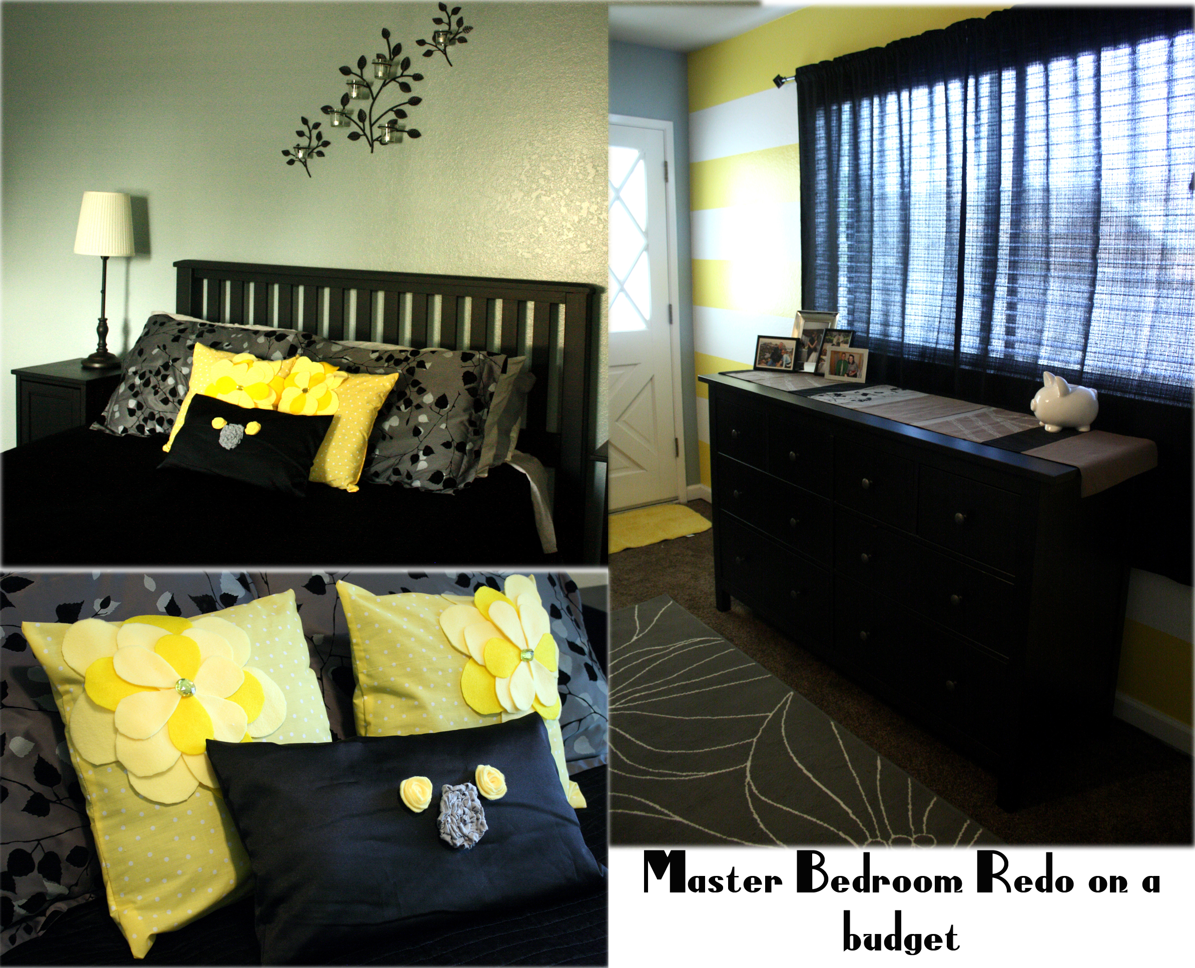 Grey Black Yellow Bedroom