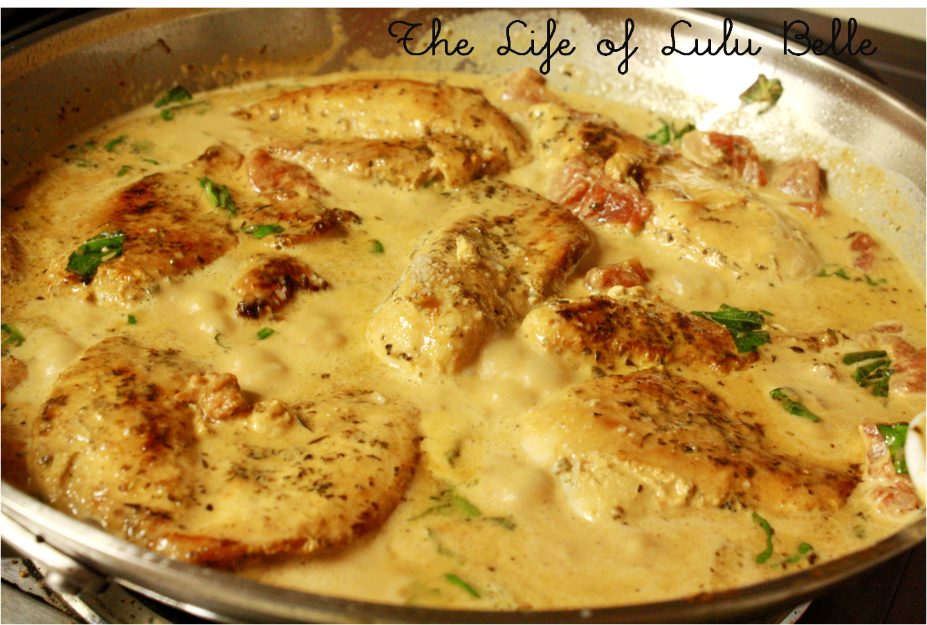 My new favorite: Chicken in tomato and basil cream sauce ...