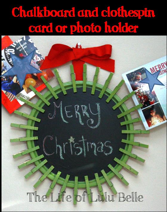chalkboard clothespin card holder