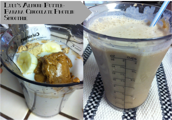 almond butter banana chocolate shake