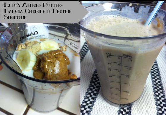 almond butter banana chocolate shake
