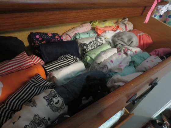 I sorted my daughter's drawer by type of clothing - pants, shirts, onesies, etc.